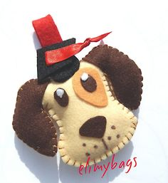 Portachiavi bomboniera laurea a forma di cagnolino, by Elimybags, 4,00 € su misshobby.com