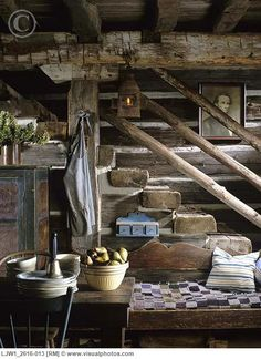 Country/Civil War Era Stairs: this is a very classic use of wide beams. They were used as support beams, columns, anchor walls as well as stairs due to their hearty thickness. Very few homes kept that aspect, even historical homes. Very clever.