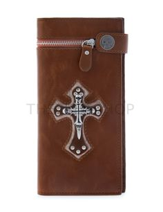 (UTWH15-BROWN) Mens Skull Cross Decoration Zipper Button Leather Long Design Wallet