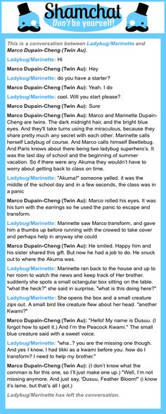 A conversation between Marco Dupain-Cheng (Twin Au) and Ladybug/Marinette