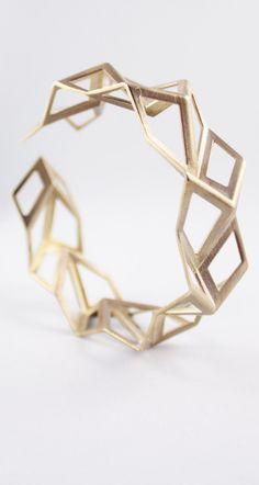 Geometric Brass Tessellation Bracelet, Origami Jewelry, 3D Printed Jewelry…