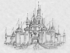 sketch of disney castle....I just may have to try to sketch this.