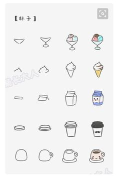 Icecream, milk, latte, coffee