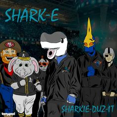"""San Jose Sharks cover art inspired by Eazy E's classic album  """"Eazy-Dubz-it"""" featuring the San Jose Sharks mascot Sharkie and a handful of Bay Area sports teams mascots. Vector artwork by Tony.psd"""