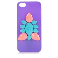 Purple Contrast Gemstone iPhone 5 Case ($1.33) ❤ liked on Polyvore featuring accessories, tech accessories, phone cases, electronics and filler