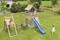 Kids Backyard Playground, Backyard Playhouse, Backyard For Kids, Playhouse Plans, Fun Outdoor Games, Outdoor Play Areas, Preschool Classroom Layout, Swing Set Plans, Kids Swing