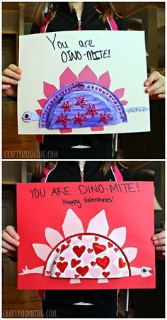Mini paper plate dinosaur valentines day craft for kids - these make great valentine cards! | http://CraftyMorning.com