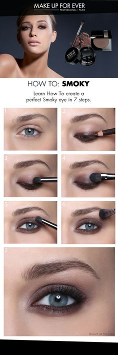 Smoky Eye Makeup - Learn how to create a perfect Smoky eye in 7 steps. http://www.makeupforever.com/int/en-int/learn/how-to/smoky-eye-makeup