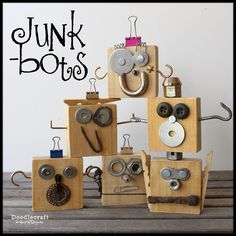 Home Decor for kids Junk-Bots! DIY, Upcycled, home decor and Kids crafts galore! I love sci-fi/fantasy geekery too! Doctor who, star wars and My little pony are favorites! Woodworking For Kids, Woodworking Projects, Upcycled Home Decor, Robot Art, Robots, Junk Art, Camping Crafts, Wooden Crafts, Recycled Art