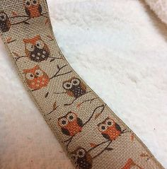 Owl Ribbon  Natural  Jute  Wired   2.5 inches   2 yards