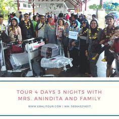 Selamat datang di Bali Ibu Anindita bersama keluarga. Semoga perjalanannya menyenangkan selama 4 hari kedepan . @ebalitour menyediakan paket tour Bali Nusa Penida Lombok dan Nusa Lembongan. Selain itu kami juga menyediakan jasa transportasi mobil dengan driver maupun self drive silahkan kontak nomor dibawah ini untuk informasi lebih lanjut . info dan reservasi SMS or WhatsApp: 085645218817 Line: e-bali website : www.ebalitour.com . #sewamobilbali #sewamobilbalimurah #ebalitour #SEWAMOBILBALI…