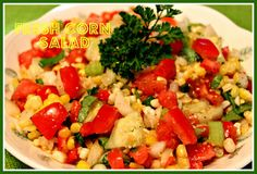 This is a delicious light and fresh tasting corn salad that uses the produce that is in season right now. Corn Salad Recipes, Corn Salads, Fresh Corn Salad, Main Dish Salads, Veggie Dishes, Salad Ingredients, Southern Recipes, Southern Food, Sweet Tea
