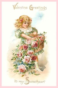 Fillette, corbeille de fleurs         (girl,  flower)        Valentine Image Freebies