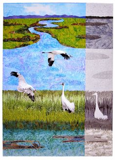 """Can We Save the Whooping Cranes? - 58 x 40"""", by Sara Sharp (Texas).  Wildlife Fabrications exhibit, SAQA."""