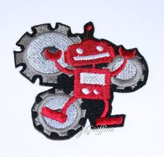 Dancing Red Robot Gears Cartoon Anime Iron On Embroidery Patch MTCoffinz Iron On Embroidery, Embroidery Patches, Embroidery Hoop Art, Embroidery Patterns, Etsy Embroidery, Embroidered Patch, Pinking Shears, Latest Pics, Anime Style