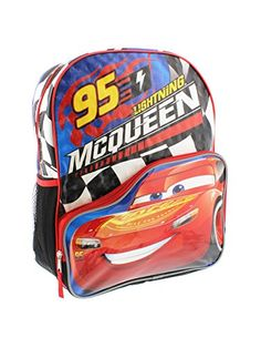 278a1ba3f22 Disney Pixar Cars 3 95 Lightning McQueen 16 inch Backpack with Side Mesh  Pockets