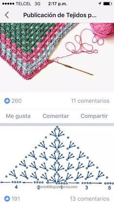 How to Crochet a Solid Granny Square Crochet Diagram, Crochet Chart, Crochet Motif, Crochet Lace, Crochet Stitches, Free Crochet, Crochet Fabric, Crochet Poncho, Crochet Scarves