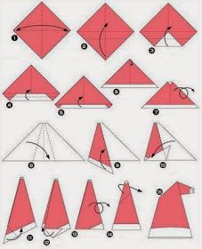 """Simple Origami Santa Claus Hat (remember to """"fluff"""" when done.) It works with a dollar bill Diy Origami, Origami Tutorial, Simple Origami, Christmas Origami, Christmas Crafts, Xmas, Origami Santa Claus, Graph Paper Art, Santa Hat"""