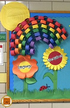 a bright and eye-catching bulletin board idea for the spring season I spent the better part of three days in late March designing and . Weather Bulletin Board, Summer Bulletin Boards, Classroom Bulletin Boards, Preschool Classroom Decor, Preschool Boards, Classroom Ideas, Educational Activities, Preschool Activities, Spring Crafts