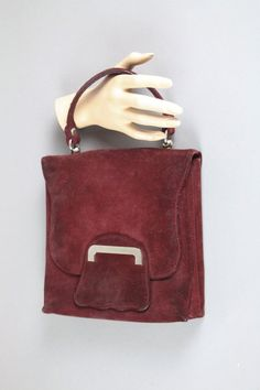 e7c187f98246d Bordeaux red vintage boho handbag of the 70s made of suede leather by  LeKosmosBerlin Bordeaux
