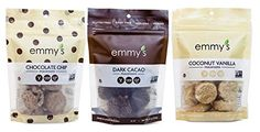 Emmy's Gluten Free Vegan Macaroons 3 Flavor Variety Bundle: (1) Emmy's Chocolate Chip Macaroons, (1) Emmy's Dark Cacao Macaroons, and (1) Emmy's Coconut Vanilla Macaroons, 6 Oz. Ea.