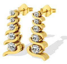 Diamantohrringe mit 1.00 Karat Diamanten aus 585er Gold für nur 1399,00 Euro bei www.diamantring.be