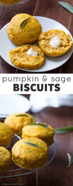 Pumpkin Sage Biscuits- buttery, flaky biscuits lightened up with Greek yogurt!