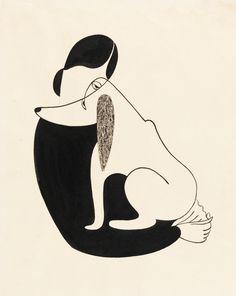 "design-is-fine: "" Christina Malman, Woman and a dog, Drawing, USA. Via Cooper Hewitt. Art And Illustration, Illustrations Posters, White Gouache, Desenho Tattoo, Art Graphique, Design Museum, Grafik Design, Art Design, Dog Art"