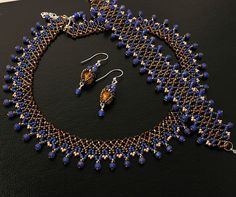 Blue Nile bead woven set by BeadCatcher on Etsy, $120.00