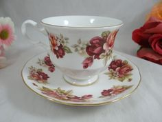 1957 Vintage Queen Anne English Bone China Peach and Purple Rose Teacup and Saucer