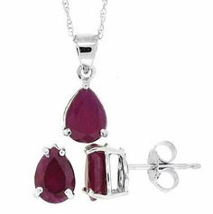 3.10CTTW Genuine Pear Shaped Genuine Ruby Pendant Earring Set in 14Kt White Gold w/chain(A Quality) by MyTreasurez, http://www.amazon.com/dp/B00510HKMK/ref=cm_sw_r_pi_dp_btyXpb0401P0D