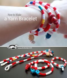How to make a Yarn Bracelet Martenitsi Fabric Roses, Fabric Yarn, Kids Jewelry, Jewelry Crafts, Diy Sock Toys, Diy Paper Christmas Tree, Yarn Bracelets, Christmas Coloring Pages, Craft Activities
