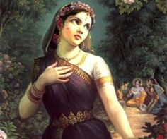 RADHA - Whose name is chanted all over India as one who loved Krishna but never married him. Yet Radhe- Krishna are worshiped with great fervor and devotion. Hare Krishna, Krishna Art, Krishna Images, Krishna Leela, Bee Painting, Woman Painting, Francois Martin, Santa Sara, Raja Ravi Varma