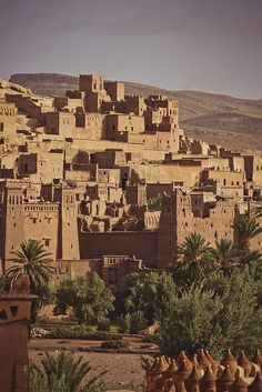 Aït Benhaddou is a 'fortified city', or ksar, along the former caravan route between the Sahara and Marrakech in present-day Morocco.
