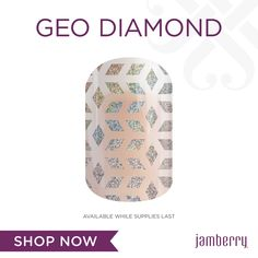 Take your mani to new heights with the oh-so-stunning 'Geo Diamond'! This iridescent holographic design catches and reflects light, creating a mesmerizing and totally eye-catching mani.