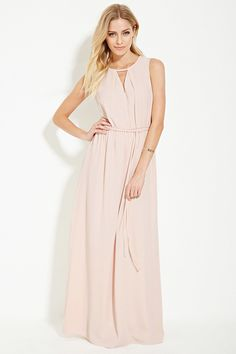 Forever 21 Contemporary - A woven maxi dress in a sleeveless design with subtle pleats framing the V-cutout at its neckline, a self-tie belt at its elasticized waist, and a V-cutout back.