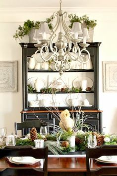 White at back of shelves. Natural ledge. Top This Top That: Christmas Home Tour 2014