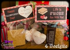 Printable VALENTINE TREAT Bag TOPPERS - S'more Valentine Bag Toppers - Diy Valentines - Smores Valentine Treat Bag Toppers Instant Download by ShinySparklyParties on Etsy https://www.etsy.com/listing/217902973/printable-valentine-treat-bag-toppers