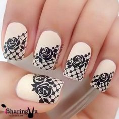 Black and White Rose Lace Nail Art Design
