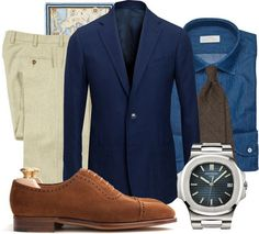 Toquote:  Today I want to tell you about simplicity and elegance. Let's start off with the navy sport coat, a true wardrobe classic and a garment that will be used for many years. The oatmeal trousers, a well used color for spring and summer but easily forgetten for fall and winter. Now let's look at the denim shirt, a shirt that will make your outfit perfectly casual in the right way. Combine these pieces with brown acessories and shoes, and of course with you favorite watch and you will…