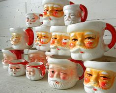 Into Vintage...my Santa Mug collection runneth over.  But I love every last precious one!