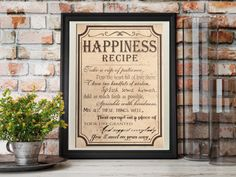Happiness recipe Home Wall Decor words by BlueberryDreamDesign
