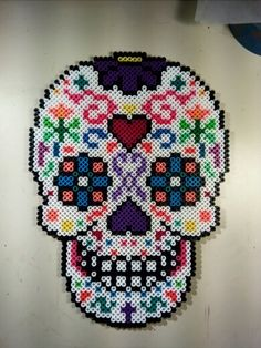 Perler bead Sugar Skull Pattern.