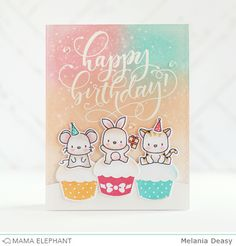 mama elephant | design blog: STAMP HIGHLIGHTS : LUNAR ANIMALS | happy birthday by Melania Deasy