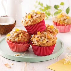 Muffins tropicaux à l'ananas et lait de coco - Les recettes de Caty Muffins Au Quinoa, Muffin Recipes, Sweet Bread, No Bake Desserts, Scones, Biscuits, Brunch, Cupcakes, Nutrition