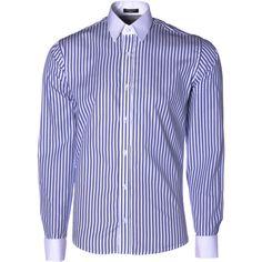 Camisa Punho Duplo Listrada - Rich Outfit, Moda masculina para homens de estilo