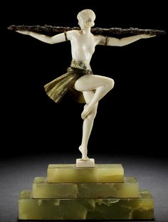 "Pierre Le Faguays, ""Danseuse au Thyrse"" a cold-painted bronze and Ivory figure, France circa 1925"