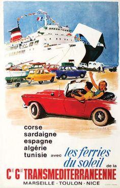 bateau - Cie Gle Transméditerranéenne - Marseille - Toulon - Nice - Les Ferries du soleil. Corse. Sardaigne. Espagne. Algérie. Tunisie -