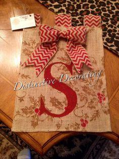 christmas holly burlap garden flag with added chevron bow!!
