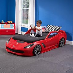 Racing Car Bed Corvette Convertible Toddle To Twin With Lights Red Boy Bedroom Race Car Toddler Bed, Kids Car Bed, Bedroom Themes, Kids Bedroom, Bedroom Ideas, Bedroom Murals, Bedroom Wall, Race Car Bedroom, Twin Car Bed